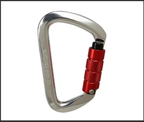 D字型カラビナ28 KNクライミングロック耐荷安全メインロックのQuickDraw,Automaticlocksilver,1PCS