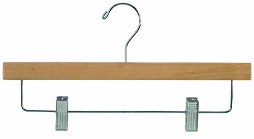 The Great American Hanger Company Wood Skirt Hangers, Natural Finish, Box of 50