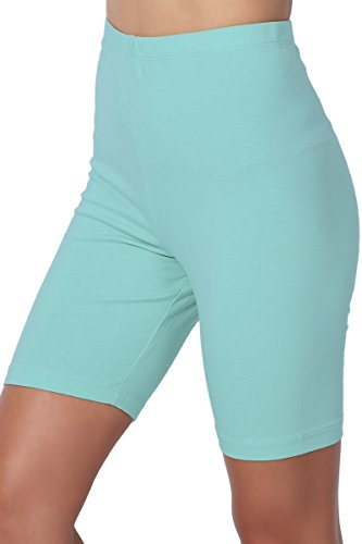 TheMogan Women's Mid Thigh Cotton High Waist Active Short Leggings Ash Mint (Womens Cotton Bermuda Shorts)