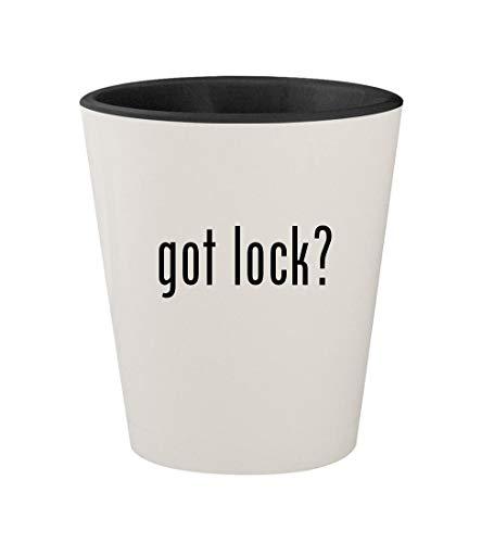 got lock? - Ceramic White Outer & Black Inner 1.5oz Shot Glass