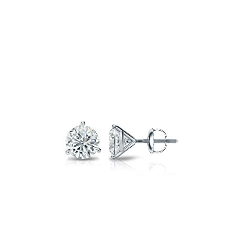 18k White Gold 3-Prong Martini Round Diamond Stud Earrings (1/6ct, Good, I2-I3) 0.075 Ct Diamond