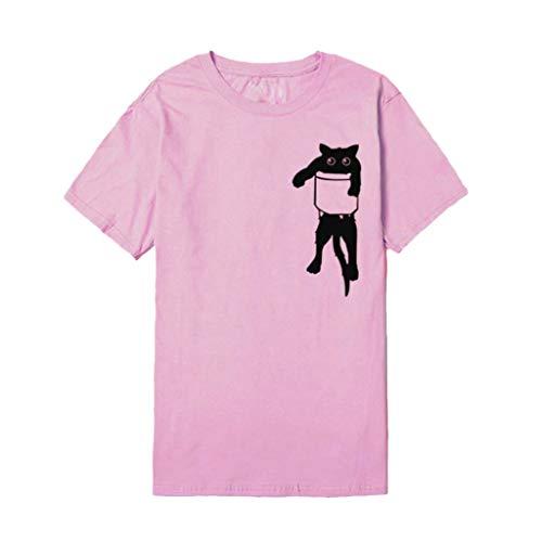 Donna Top Donne Estate Stampa shirt Corto Ragazza Felpe Meibax Elegante Tumblr Sexy Tops Rosa Pullover Camicia Maglietta T Gatto 5nYxHp