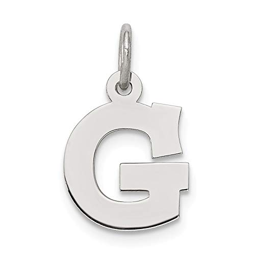 925 Sterling Silver Small Block Initial Monogram Name Letter G Pendant Charm Necklace Fine Jewelry Gifts For Women For Her