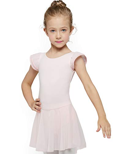 MdnMd Girls' Flutter Sleeve Dress Leotard (2-4 / Toddler, Ballet Pink)]()