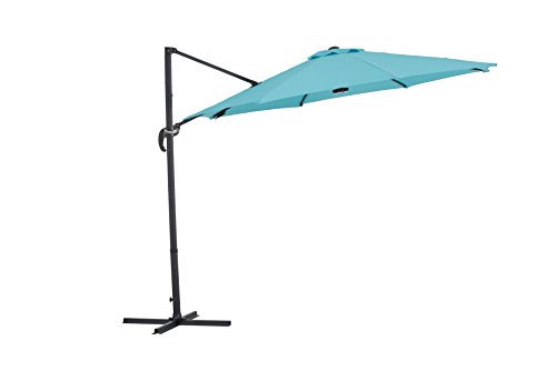 Sunjoy Patio Hanging Umbrella Off Set Outdoor Parasol with Light, Audio Equipment