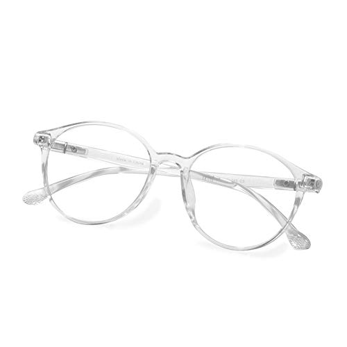 Fake Glasses Vintage Round Eyewear Frame Unisex Stylish Non-prescription Clear Lens Eyeglasses Fashion Glasses for Women Men Transparent