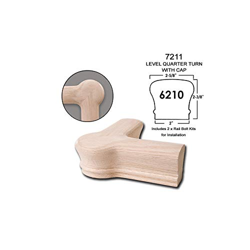 6210 Wood Staircase Handrail Fitting for Stair Remodel 7219 Red Oak Opening Cap