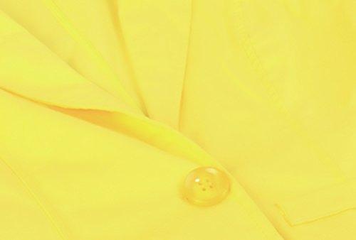 Elegante Tailleur Corti Battercake Ufficio Slim Giallo Giacche Donne Casuale Revers Lunga Manica Moda Autunno Vintage Pulsante Casual Giubbotto Della Donna Classica Fit wIwxF8dqf
