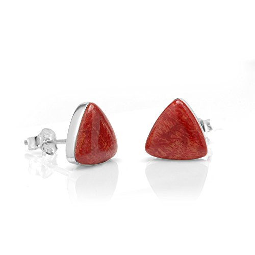 925 Sterling Silver Tiny Natural Red Sea Bamboo Coral Triangle 9 mm Post Stud Earrings