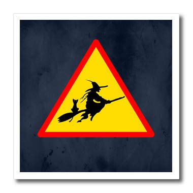 3dRose Sandy Mertens Halloween Designs - Witch Crossing with Black Cat and Broom Warning Sign, 3drsmm - 8x8 Iron on Heat Transfer for White Material (ht_290246_1) ()