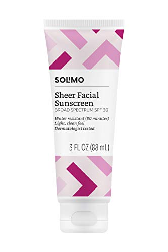 Amazon Brand - Solimo Sheer Face Sunscreen SPF 30, 3.0 Fluid Ounce (Pack of 1)