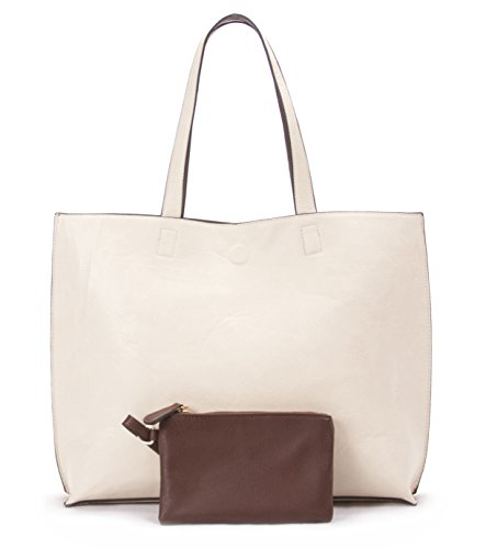 Overbrooke Reversible Tote Bag, Off-White & Brown - Vegan Leather Womens Shoulder Tote with Wristlet