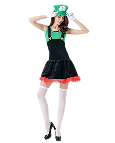 JJ-GOGO Women's Cosplay Costumes For Halloween (Sexy Green Plumber Costumes)