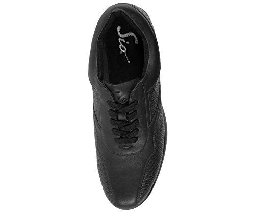 Nero Sneaker Basso In Tessuto Sintetico Sio In Ecopelle