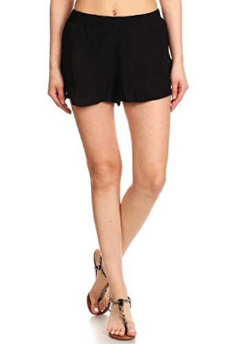 Junior's Sexy Lace Summer Beach Shorts Hot Pants, Black, M (Black Lace Shorts)