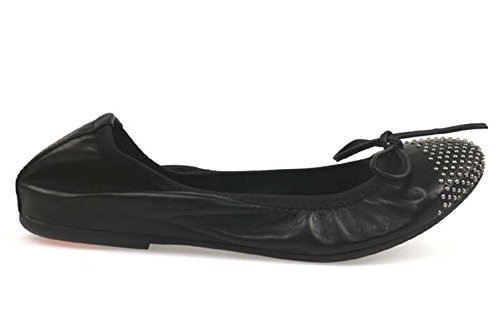 AP943 36 Tachuelas Bailarinas Mujer Crown Zapatos Negro Cuero AP943 w08EX1