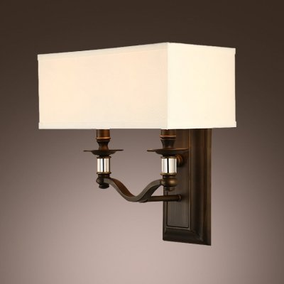 Majestic Square Two Light - hua Dazzling Wall Sconce Features Two-light Design and Clear Majestic Crystal Accents with Half Drum Shade