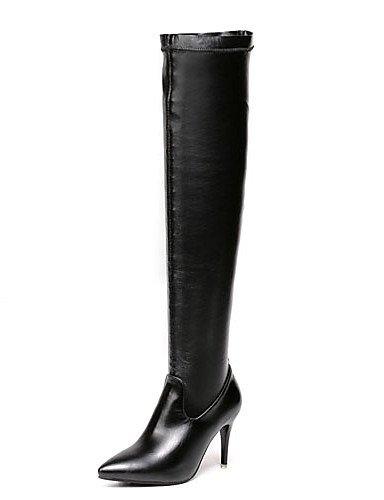 Stiletto Vestido Xzz us8 Tacones Mujer Cn39 De Black Uk6 Eu39 Botas Zapatos Tacón Puntiagudos Negro Semicuero WII14q