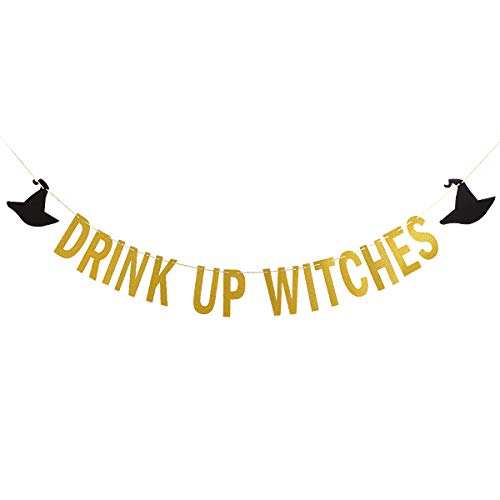 Gold Glittery Drink Up Witches Banner -Halloween Party Decoration Supplies -