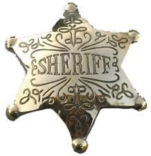 Costume Badge Ornate Brass Sheriff Old West Prop -