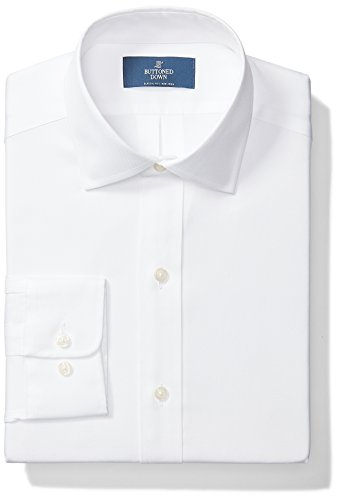 BUTTONED DOWN Men's Classic Fit Spread Collar Solid Non-Iron Dress Shirt (No Pocket), White, 18