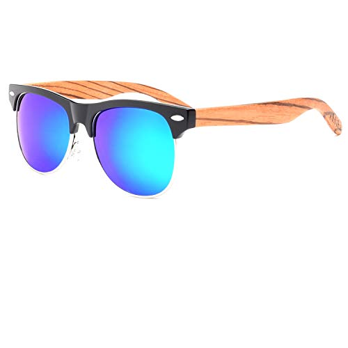 Ablibi Bamboo Wood Semi Rimless Sunglasses with Polarized Lenses in Original Boxes (Zebra Wood, ()