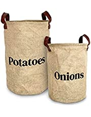 Lined Burlap Pantry Storage Baskets For Potatoes And Onions With Handles, Set Of 2, Decorative Rustic Farmhouse Home Decor, Kitchen Organization, 2 Pack