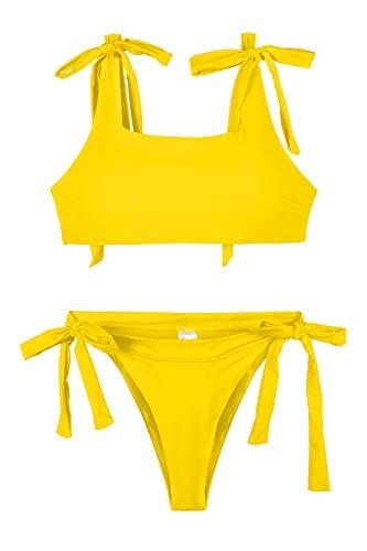 Pink Queen Women's Sporty High Cut Thong Padded Bikini Set Swimwear Yellow S