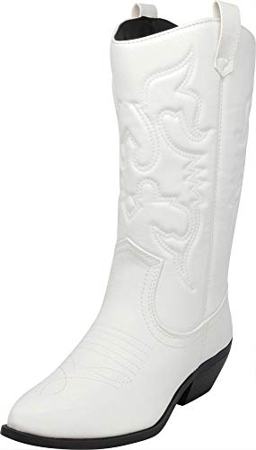 Cambridge Select Women's Western Pointed Toe Mid-Calf Cowboy Boot,5.5,White Pu