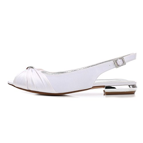 de Peep Femmes Party 5049 Prom 26 Danse L Satin silver F Chaussures Mariage YC Pompes Bas Wommen Toe Talon 6IHqE6wYnz