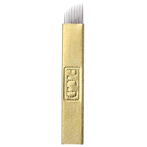 Microblading Needles,New Star Tattoo 50pcs 12 Pin Permanent Makeup Blades Manual Eyebrow Tattoo Curved Blade 12 Sloped Needles for Microblading Pen,Microblading Supplies,Microblading Kits