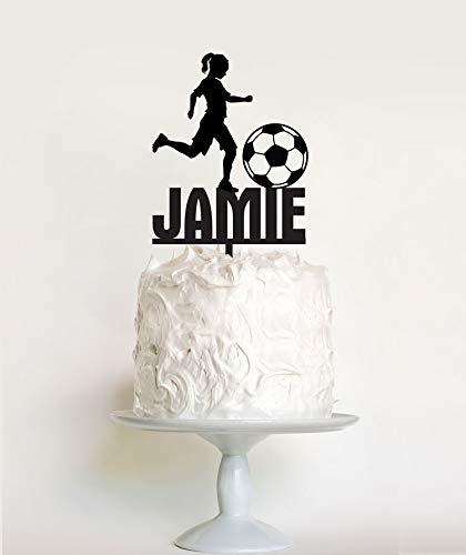 Liz66Ward Girls Soccer Cake Topper Birthday, Girl Soccer Player Birthday Cake Toppers Personalized Name,Birthday Gifts for -
