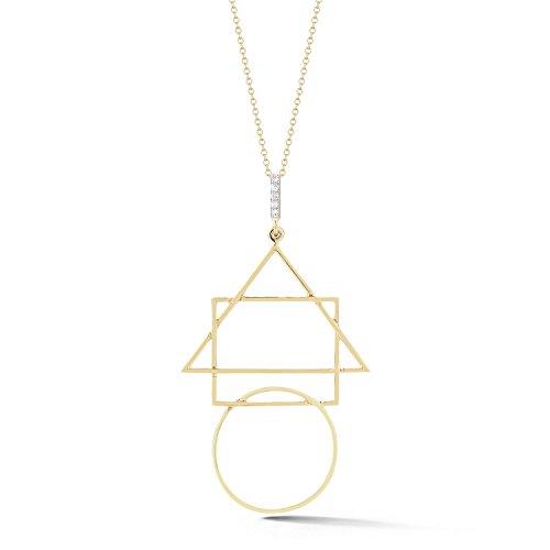 Mateo NYC Collier avec Pendentif Or Jaune 14carats (585/1000) Ronde Diamant Blanc Femme 45.72cm