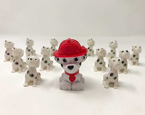 fb Marshall and 12 Mini Dalmatian Dog Figures. Paw Patrol Fire Truck House Puppy Mascot. Cake Toppers.