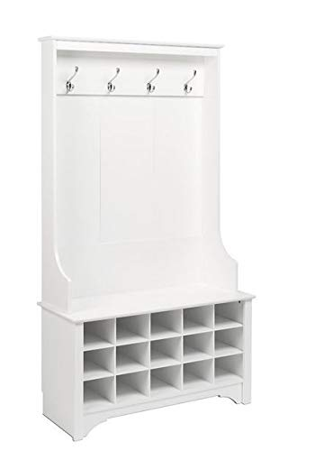 Amazon.com: Hall Trees with Bench and Coat Racks - White Wood with Four Hooks and Fifteen Shoe Cubbies - Organizing Your Space with Sophistication: Home & ...