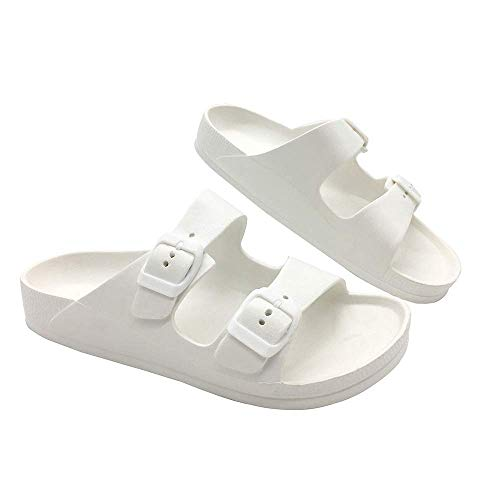 Toson Men's Women's Comfort Slides Double Buckle Adjustable EVA Flat Sandals Flip Flops Slippers (5 Women, White) ()