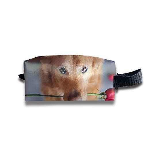 Clash Durable Zipper Wallet Makeup Handbag With Wrist Band Rose Dog Toiletry Bag]()