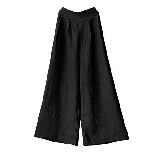 - Women's Plus Size Elastic Waist Cotton Capri Pants Relaxed Loose Casual Full Length Trousers Fashion Wide Leg Pants Black