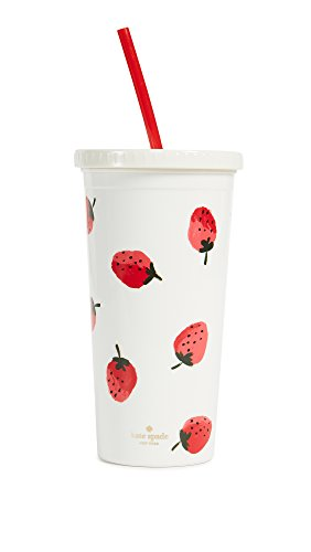 Kate Spade New York Womens Strawberries Tumbler With Straw  Red Green White  One Size