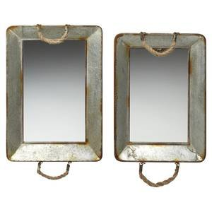 Foreside 78236 Rectangular Galvanized Mirror Trays, Set of 2 by Foreside