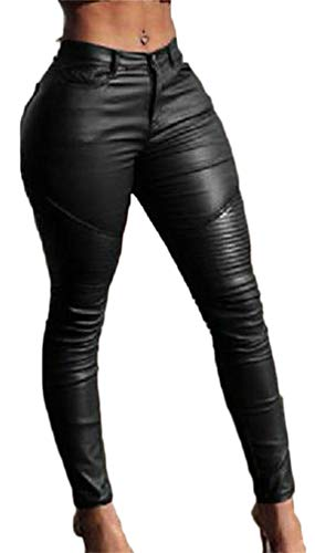 Easonp Women's Casual Stretch High Waist Faux Leather Pleated Jogger Pants Black M