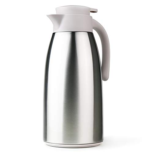 (Stainless Steel Coffee Carafe Thermos 64oz with Lid Double Walled Thermal Vacuum Insulated Coffee Jug 1.9 Liter Hot Water Beverage Milk Dispenser (Grayish White))