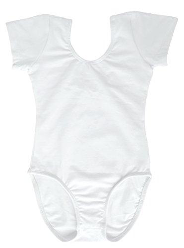Dancina White Leotard Girls Short Sleeve Soft Comfy Full Front Lined Ballet Unitard 10White ()