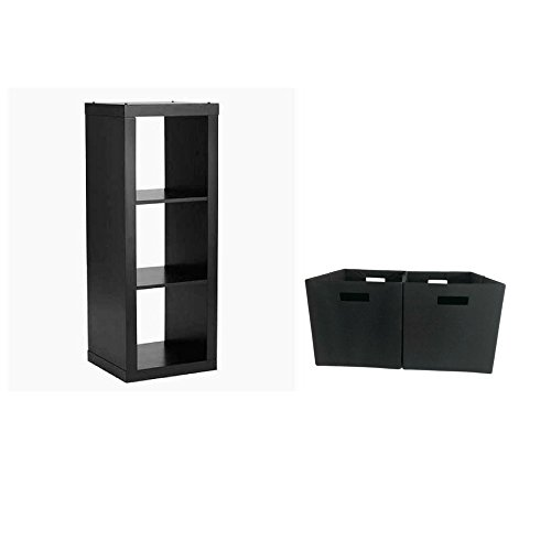 Better Homes & Gardens 3-Cube Organizer Storage Bookshelf (High Gloss Black (Black Lacquer Storage)