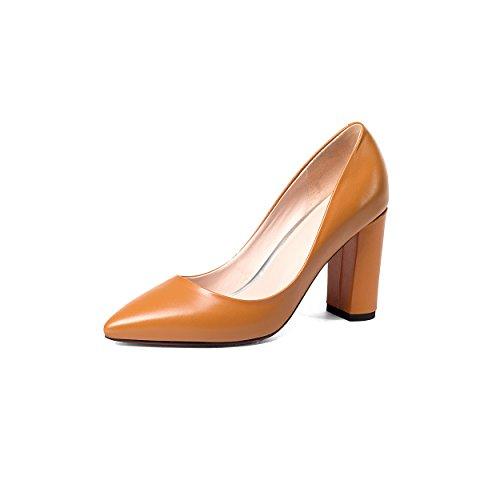 JIEEME Ladies Sexy Block Heels Genuine Leather Women Pumps Fashion Pointed Toe Black Yellow Women Court Shoes Yellow