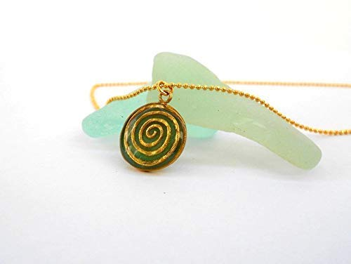 Boho Chic Gold and Black Spiral Pendant Necklace for Women, Unique Bohemian Brass Charm, Handmade Designer Jewelry Birthday Gift