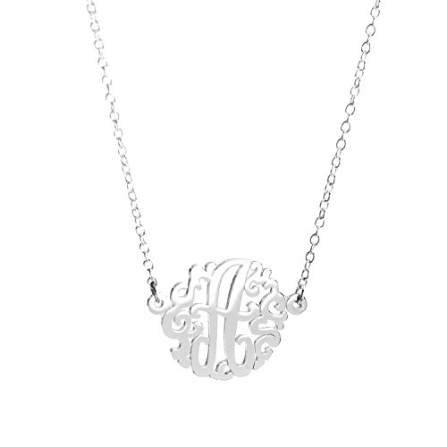 Sterling Silver Single Initial Monogram Necklace (Small(15mm)/A)