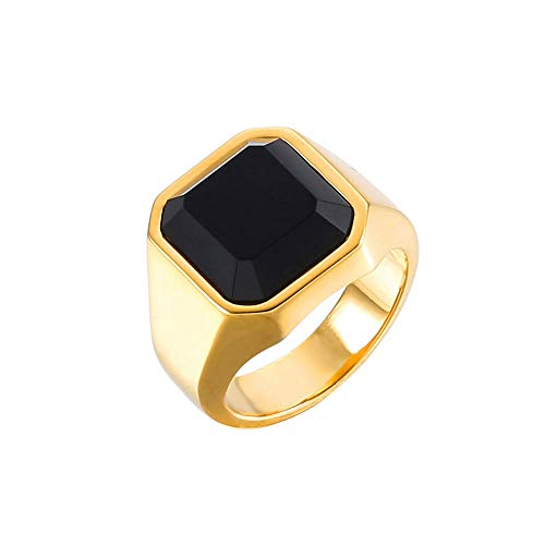 SEVEN50 Fashion Stainless Steel Yellow IP Plated Signet Rings with Black Agate for Men,Pinky Ring for Men (9)