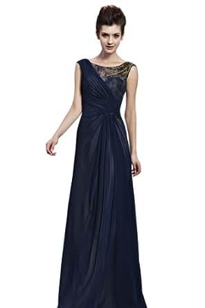 BPSFStudios Navy Blue Bateau Neck Floor Length Evening Dress - XS - Navy Blue