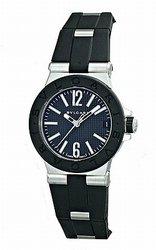 Bvlgari Diagono Quartz Black Dial Black Rubber Ladies Watch 101607